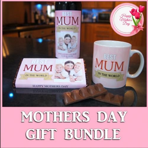 Personalised Mothers Day Super Gift Bundle N2 - Mug, Chocolate Bar & Bottle Label